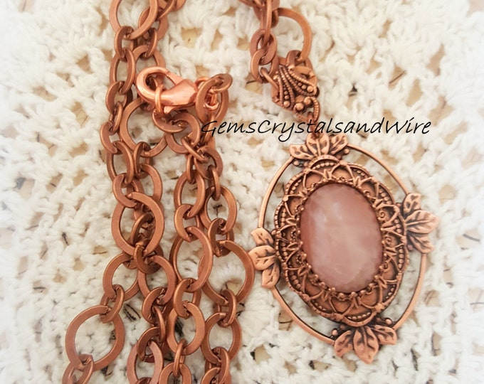 Rose Quartz, Antique Copper, Vintage Necklace, Gemstone Earrings, Romance, Victorian, OOAK