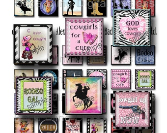 inchies,  Rodeo Cowgirls,  digital collage sheets,  INSTANT DOWNLOAD at Checkout, cowgirl pendants, rodeo, cowgirls, cowgirl collage sheets