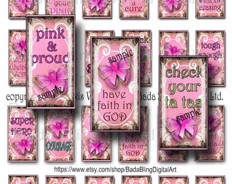 1 x 2  Breast Cancer Awareness, original art digital collage sheets, INSTANT Digital Download at Checkout, Think PINK in October