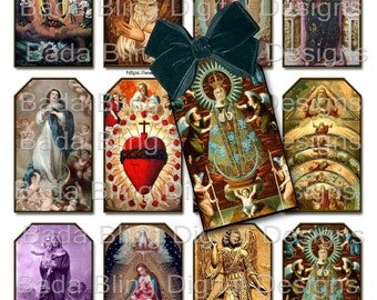 gift tags, Religious Images, sheet #2...religious collage sheets,  INSTANT Digital Download at Checkout, Madonna, Christ