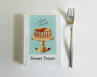 Sweet Treats Recipe Book, Blank A6 Notebook Diary Journal Sketchbook Spiral Bound, Cute, Writing, Back to School, 4x6 Inches, Gifts Under 15