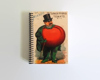 Tomato Man Spiral Bound Pocket Writing Journal, Vintage Caricatures, Antique Seeds Packet, Sketchbook, A6 Back to School, Fun Gifts Under 15