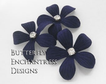 Something Blue Wedding Hair Piece, Bridal Hair Flowers, Beach Accessories - 3 Navy Blue Caribbean Plumeria Hair Pins - Rhinestone Centers