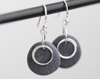 Beach Stone earrings - Maid of honor Gift - Alaska Beach Stones - Sterling silver earrings - Simple Earrings - Natural Jewelry - Circles
