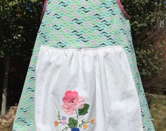 Mint green A-line apron dress
