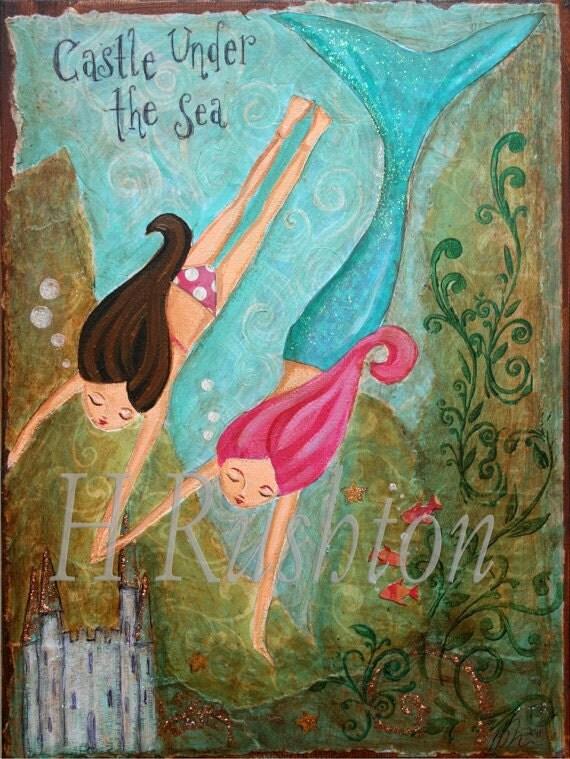 items similar to mermaid art canvas wall art canvas art children 39 s decor mermaid decor. Black Bedroom Furniture Sets. Home Design Ideas