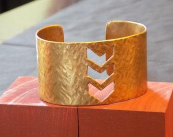 Textured Bronze Chevron Coff Bracelet