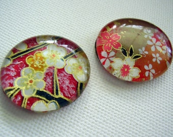 Set of two large glass washi chiyogami yuzen pebble magnets