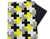 Mens Unisex Black Grey and Yellow Crosses Passport Cover/Holder/Wallet