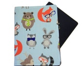 Geeky Animals in Glasses on Light Blue Passport Cover/Holder/Wallet