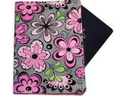 Pink Flower Pop on Grey Passport Cover/Holder/Wallet