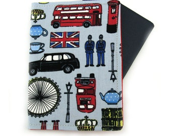 London Icons on Blue Passport Holder / Cover / Wallet