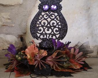 Halloween Owls nest floral centerpiece flower candle arrangement Autumn home decor fall decoration shabby chic Thanksgiving Samhain