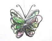 Angelic Wings - 3D Stained Glass Butterfly Twirl - Mini Shimmering Clear Hanging Suncatcher Home Decor Christmas Ornament (READY TO SHIP)