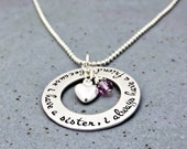 Personalized Sister Necklace - Hand Stamped Sisters Quote - Sterling Silver Washer - Birthstone Necklace - Sister Jewelry Gift For Siblings