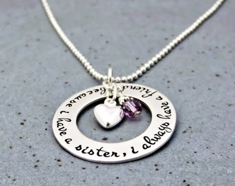 Hand Stamped Necklace - Sister Necklace - Personalized Jewelry - Sister Necklace with Heart and Birthstones -  Sister Friendship Gift