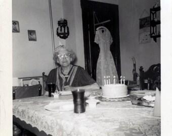 Vintage Snapshot 1958 Betty Granny Party Hat Birthday Cake Dress Snapshot photo