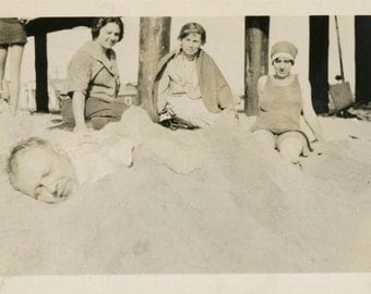 vintage photo 1923 Balboa Beach CAlifornia Man Buried in Sand Abstract Head only