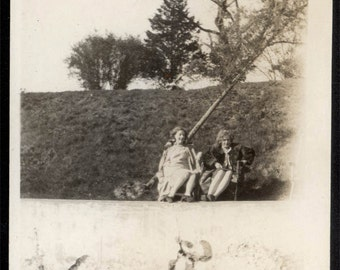 vintage photo 1930 Long Lake Abstract Mystery Optical Illusion Off Kilter Ebba & Helen