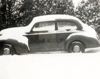 vintage photo 1942 Old Car Snow covered Fir Tree Reflection Vintage Snapshot
