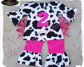 Cute Girl Birthday Cow Pink Outfit Pant Set Western Farm Barnyard Petting Zoo Party 1st 2nd 3 6 9 12 18 24 month size 2t 2 3t 3 4t 4 5 6 7 8