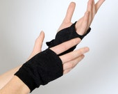 Black fingerless gauntlets, Metallic black fingerless gloves, Womens black fingerless gauntlets