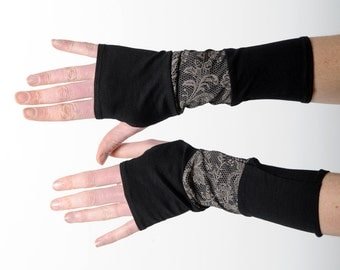 Patchwork fingerless gloves, black and lace print jersey armwarmers, Printed arm warmers, Patchwork wrist warmers, Long fingerless gloves
