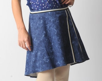 Blue assymetric skirt, Swirly blue denim short skirt, Blue womens skirt with back pleats, sz UK 12