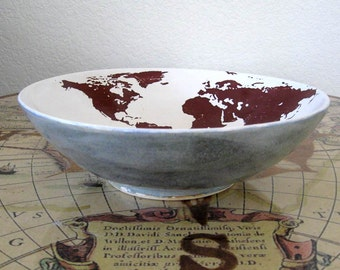 Earth Bowl - Centerpiece Bowl - Decorative Bowl - Hand Thrown Stoneware Pottery