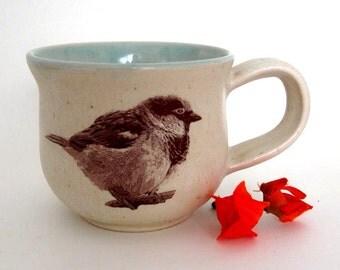 Ceramic Mug - Chubby Sparrow - 14 oz  - Ready to Ship - Hand Thrown Stoneware