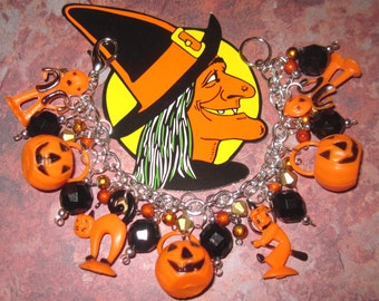 Vintage Style Halloween Charm Bracelet Cat Witch Jack o' Lantern  Pumpkinhead OOAK Prim Folk Art Retro Style Kitsch Orange Black Fits Large