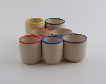 Set of 7 Ceramic Shot Glasses - Small Cups - Sake - Tea - Whiskey or Cordial Cups - Ready to Ship -Eggshell with Rainbow Color Rims  s410