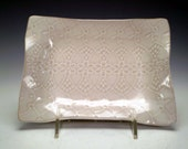 Cottage Chic White Lace Ceramic Rectangle Serving Dish, Spoon Rest, Jewelry Holder, Soap Dish