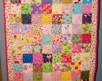 Girl's I-Spy Quilt, Floor Time Tummy Mat:  Candy Border - One of a Kind - Ready to Ship - Free U.S. Shipping