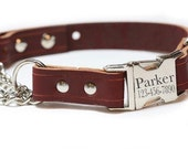 Leather Dog Collar - Buckle Chain Martingale