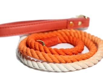 Ombre Rope Leash with Orange leather handle, Orange Rope Dog Leash