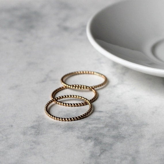 Dot and Smooth Stacking Ring Set - Gold Fill