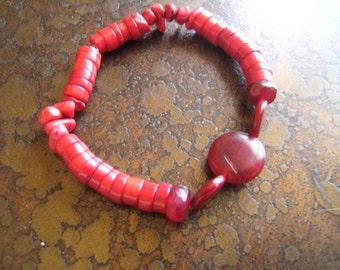 Stud Howlite Glass and Acrylic Beaded Stretch bracelet