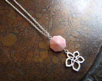 Pink Petals Lucite Silver Plated Chain necklace
