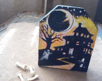 Primitive Halloween Folk Art Painting on Reclaimed Wood Panel Crescent Moon and Haunted House