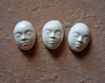 3 White Small Ceramic Clay Faces Glazed Cabochon for Mosaic, Crafts, Jewelry, Doll Making, Assemblage. Altered Art