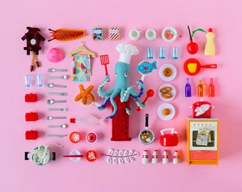 Print: Playful Cooking - art miniature collage photo pink digital octopus felt toy figurine retro pez chef kitchen fish cook wall decor