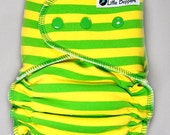AI2 Cloth Diaper Made to Order - Lemon Lime Stripes - You Pick Size and Style - Custom Cloth Nappy Yellow and Lime Green