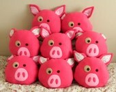 Decorative Pig Pillow READY to ship, Hot pink pig pillow, kids decorative pig pillow