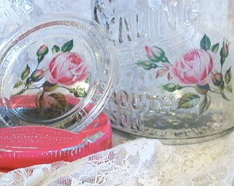 antique kerr self sealing thick glass embossing shabby chic mason jar bright pink cottage roses wide mouth canning quart upcycled repurposed