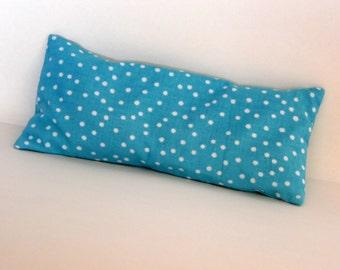 Organic French Lavender and Flax Seed Aqua Polka Dot Eye Pillow, Eye Pillow w Removable Cover Aromatherapy Eye Pillow, Relaxation Eye Pillow
