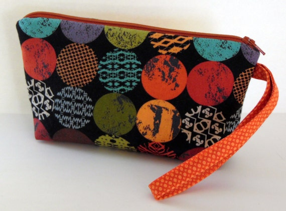 Modern Wristlet, Moda Juggling Summer Wristlet, iPhone6 Plus, Samsung 5/6 Carryall Wristlet, Fall Wristlet, Handmade by AnnieKDesigns