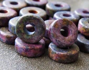8mm Thick Greek Ceramic Bead Mykonos Melitzania Purple Mix Round Washer : 25 pc Ceramic Spacer Disc