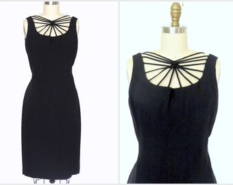 Vintage 1950s Black Dress Semi Sheer Cage Front Rayon Fitted Dress