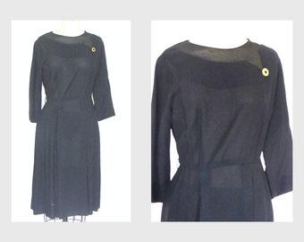 1950s Dress/ 50s Cocktail Dress / 50s Dress Black/ 1950s Dress Large 50s Party Dress
